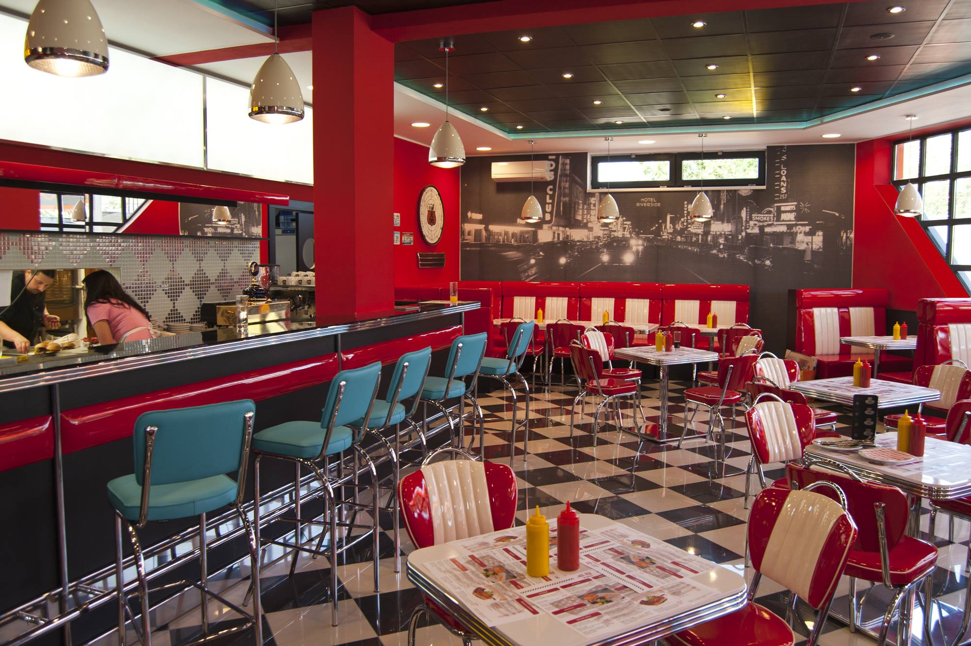 Restaurant Diner Booth With Headrest Used In Retro Or