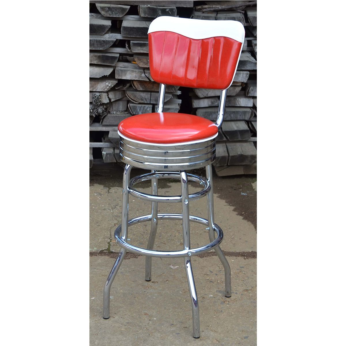 American Retro Bar Stool With Backrest Diner Restaurants