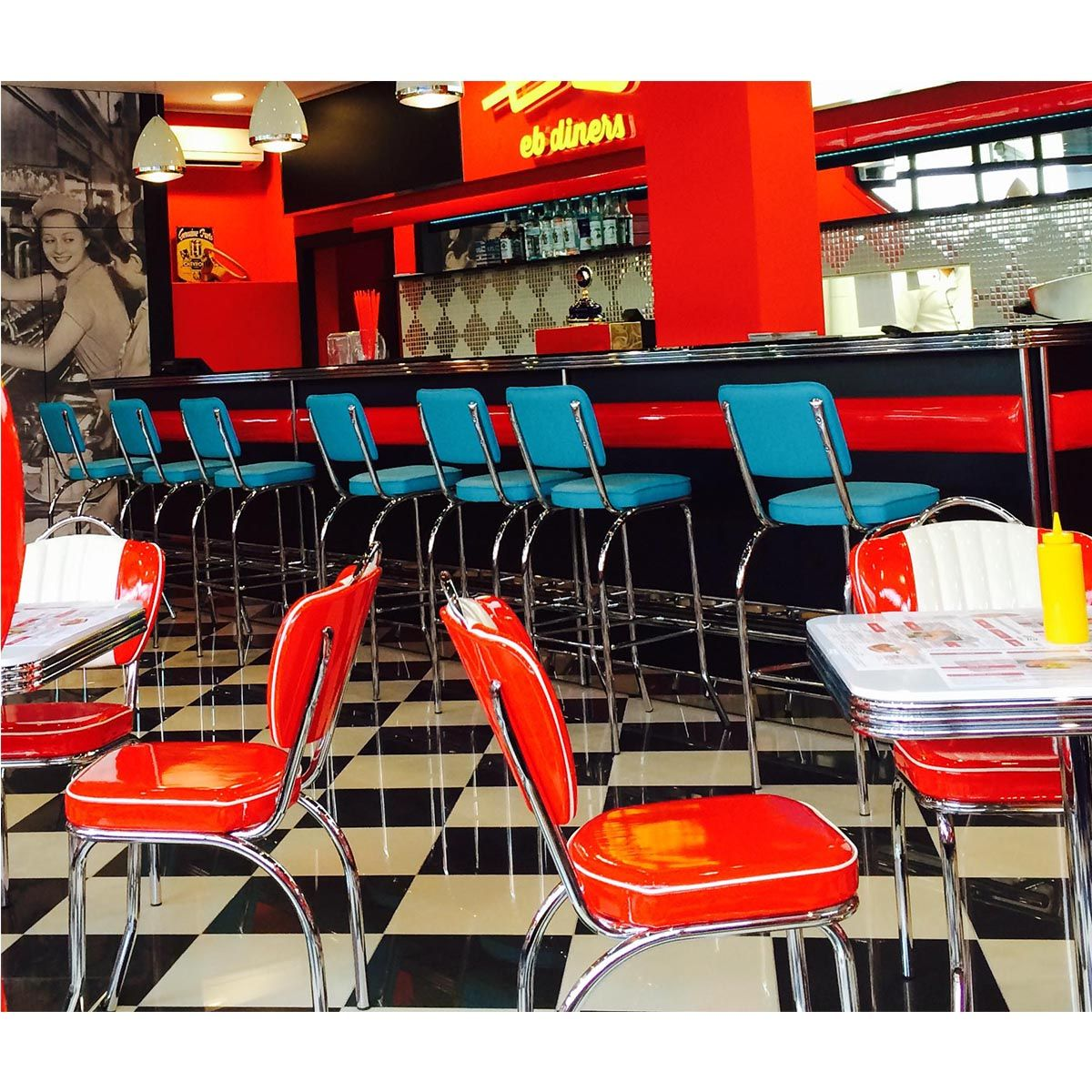 Diner furniture retro home cinema seating 6 bel air retro for Diner style curtains